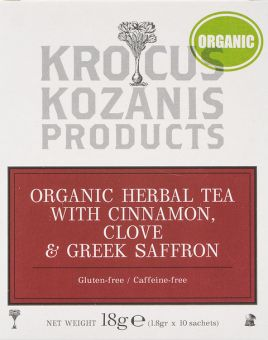 Krocus Kozanis Products : Organic Herbal Tea With Cinnamon, Clove & Greek Saffron, 18g, 10 Sachets Tea Bag (Gluten-Free, Caffeine-Free)