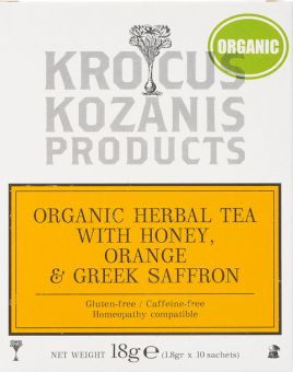 Krocus Kozanis Products : Herbal Tea With Honey, Orange & Greek Saffron, 18g 10 Sachets Tea Bag (Gluten-Free, Caffeine-Free)
