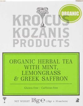 Krocus Kozanis Products : Organic Herbal Tea With Mint, Lemongrass & Saffron, 18g 10 Sachets Tea Bag (Gluten-Free, Caffeine-Free)